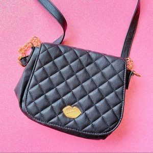 luv betsey black quilted crossbody purse